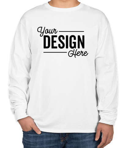 Hanes 100% Cotton Long Sleeve T-shirt - White