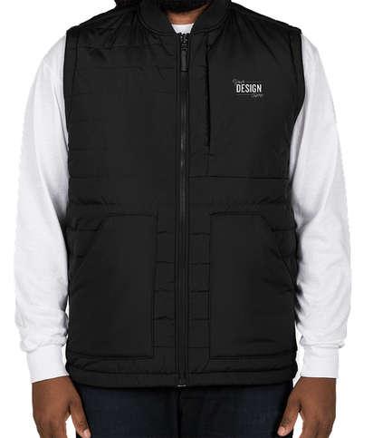 Harriton Puffer Reversible Vest - Black / Dark Charcoal
