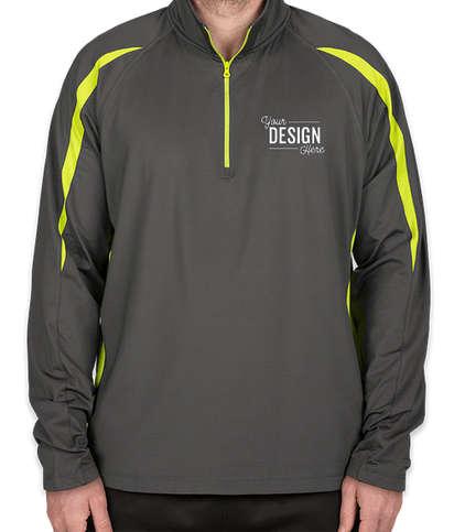 Sport-Tek Contrast Performance Half Zip Pullover - Charcoal Grey / Charge Green