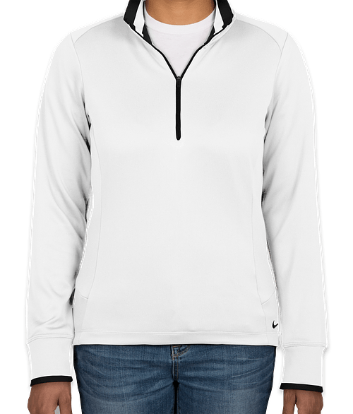 Nike Women's Dri-FIT Half Zip Performance Pullover - White / Black