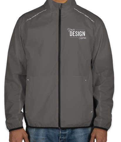 Port Authority Reflective Running Full Zip Jacket - Grey Steel / Deep Black