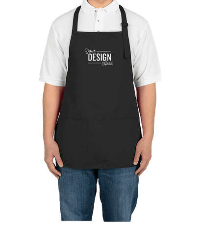 Port Authority Stain Release Medium Length Apron - Screen Printed - Black