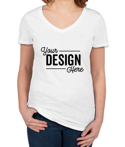Threadfast Women's Slim Fit Lightweight V-Neck Pigment Dyed T-shirt - White