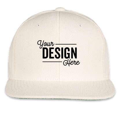 Yupoong Wool Flat Bill Snapback Hat - Natural