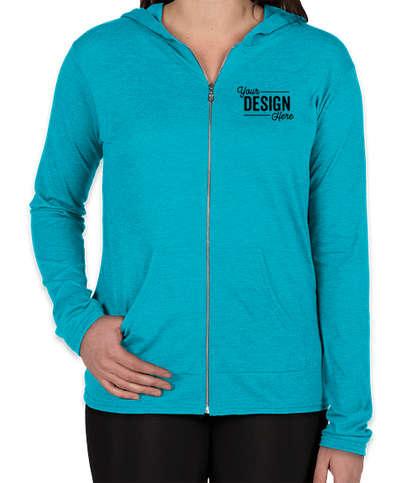 Anvil Women's Tri-Blend Full Zip T-shirt Hoodie - Heather Caribbean Blue