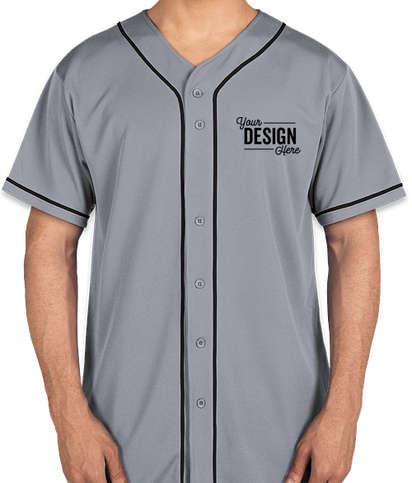 Augusta Wicking Mesh Contrast Trim Baseball Jersey - Silver Grey / Black
