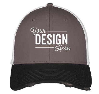 New Era 39THIRTY Distressed Stretch Fit Mesh Hat - Black / Graphite / White