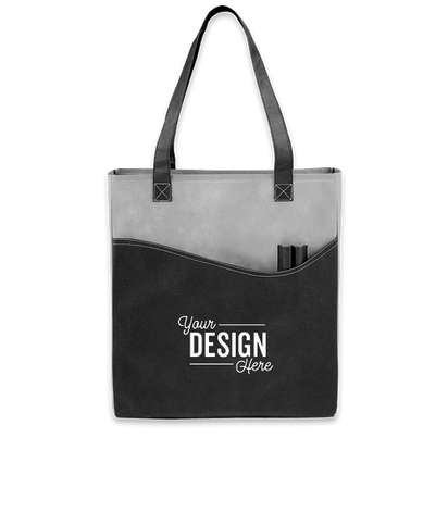 Promotional Non-Woven Pocket Convention Tote - Gray