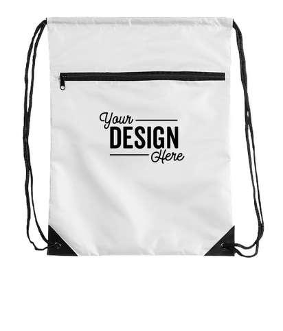 Zipper Drawstring Bag - White