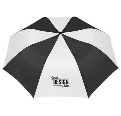 """44"""" Arc Auto Open Multi-Tone Telescopic Folding Umbrella - Black / White"""