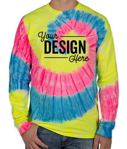 Port & Company Tie-Dye Long Sleeve T-shirt - Neon Rainbow