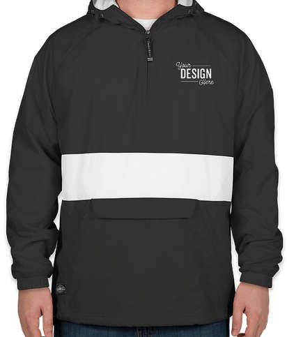 Charles River Classic Striped Hooded Packable Anorak - Black / White