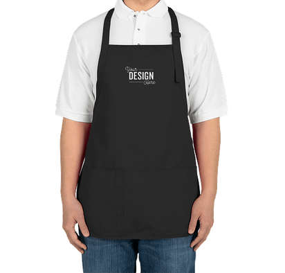 Port Authority Stain Release Medium Length Apron - Embroidered - Black