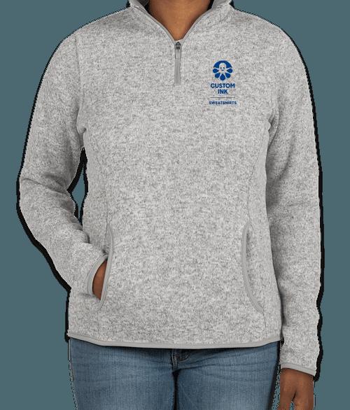 Charles River Women's Quarter Zip Sweater Fleece Pullover - Light Grey Heather