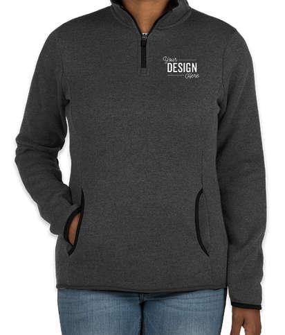 Charles River Women's Quarter Zip Sweater Fleece Pullover - Charcoal Heather