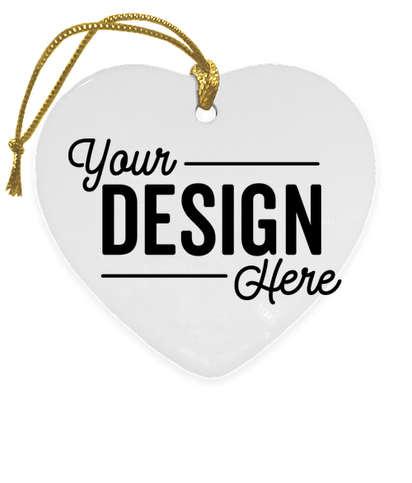 Full Color Heart Ceramic Ornament - White