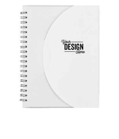 Frosted Color Block Spiral Notebook - White