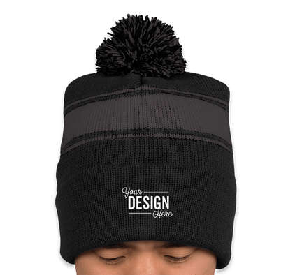Sport-Tek Striped Pom Pom Beanie - Black / Iron Grey