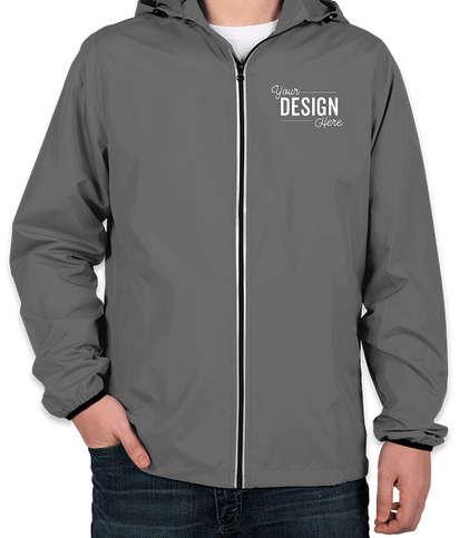 Charles River Pack-N-Go Hooded Packable Full Zip Jacket - Grey