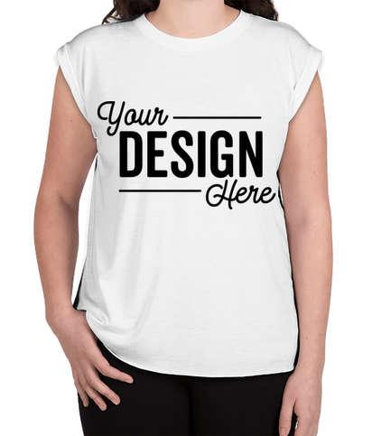 Bella + Canvas Women's Flowy Rolled Cuff T-shirt - White