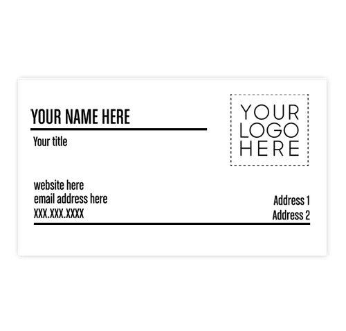 "2"" x 3.5"" Horizontal Business Cards - 14 pt. Cardstock - White Glossy"