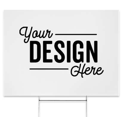 """Full Color 24"""" x 18"""" Yard Sign with Metal Post - White"""