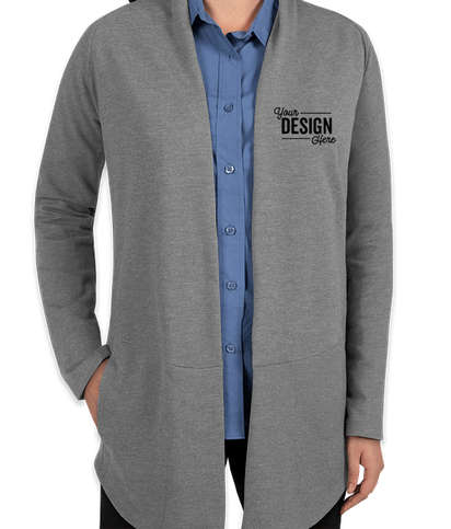Port Authority Women's Premium Interlock Cardigan - Medium Heather Grey / Charcoal Heather