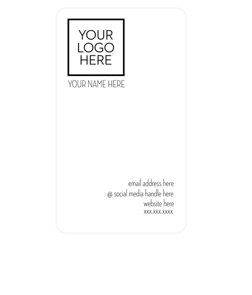 "3.5"" x 2"" Vertical Rounded Corner Business Cards - 14 pt. Cardstock - White Glossy"
