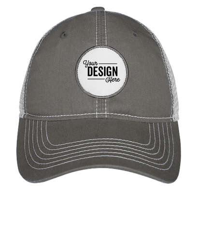 Ahead Circle Patch Trucker Hat - Charcoal / White