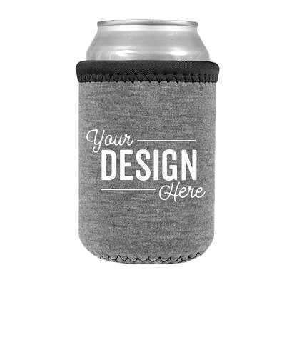 Heathered Jersey Neoprene Can Cooler - Charcoal Gray / Black / Black