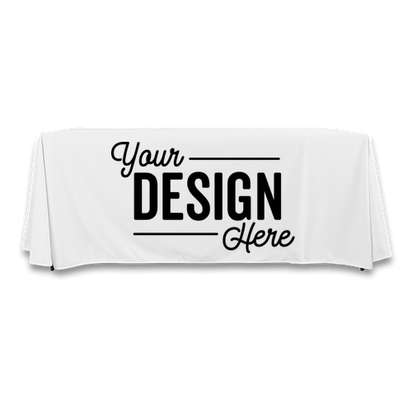 Full Color 6' Throw Tablecloth - White