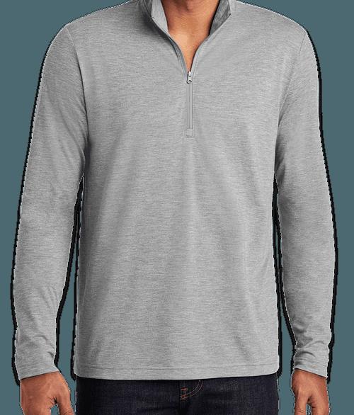 Sport-Tek Tri-Blend Quarter Zip Performance Shirt - Light Grey Heather