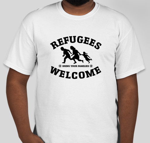 Refugees Welcome! Fundraiser - unisex shirt design - front