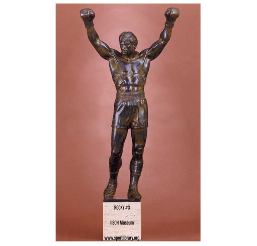 ROCKY #3 original bronze statue fundraising campaign - International Institute for Sport History shirt design - zoomed