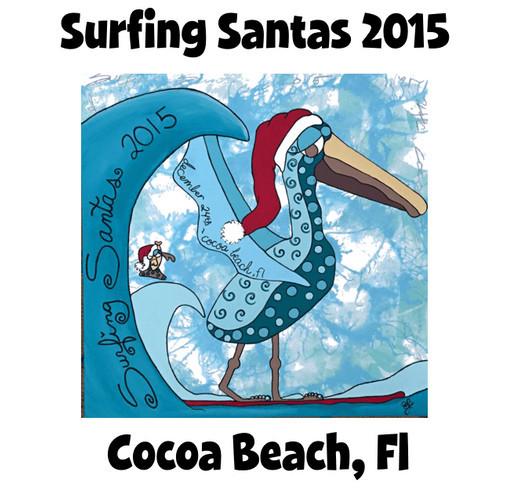 Surfing Santas fundraiser t-shirt for Grind For Life shirt design - zoomed
