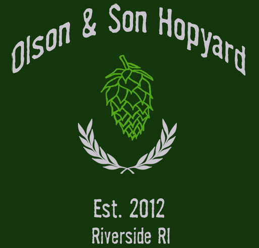 The Olson & Son Hopyard Limited Edition Tee shirt design - zoomed