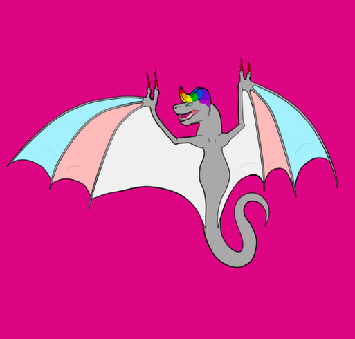 Trans Pride Dragon shirt design - zoomed