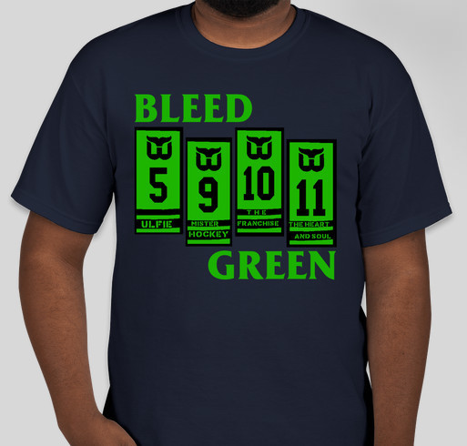 BLEED GREEN: Hartford Whalers Banners/Black Flag Bars Mash-up Tee Fundraiser - unisex shirt design - front