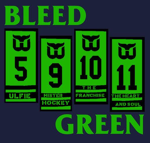 BLEED GREEN: Hartford Whalers Banners/Black Flag Bars Mash-up Tee shirt design - zoomed