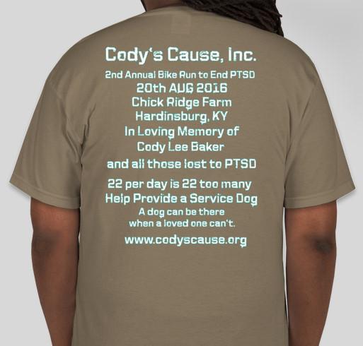 Event Shirt for the 2016 Cody's Cause Bike Run to End PTSD Fundraiser - unisex shirt design - back
