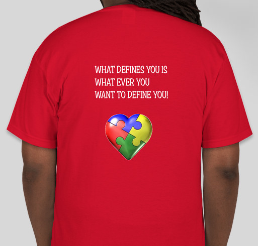 A T-SHIRT LINE BY A HIGH FUNCTIONING AUTISTIC Fundraiser - unisex shirt design - back