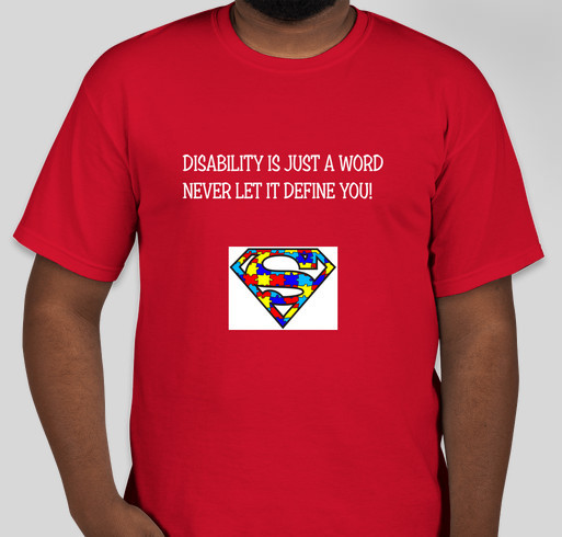 A T-SHIRT LINE BY A HIGH FUNCTIONING AUTISTIC Fundraiser - unisex shirt design - front