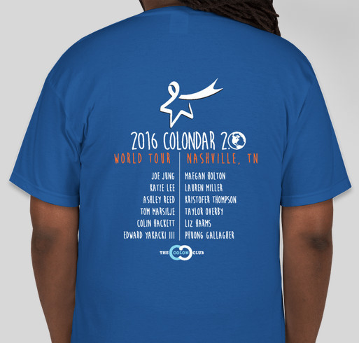 Team Tom T-Shirts for the CRC Screening Awareness and the Colon Club! Fundraiser - unisex shirt design - back