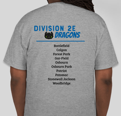 Division 2E Fundraiser - unisex shirt design - back