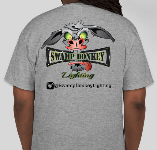 Sw& Donkey Lighting Fundraiser - unisex shirt design - back & Swamp Donkey Lighting Custom Ink Fundraising