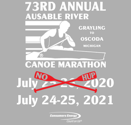 2020 AuSable River Canoe Marathon shirt design - zoomed