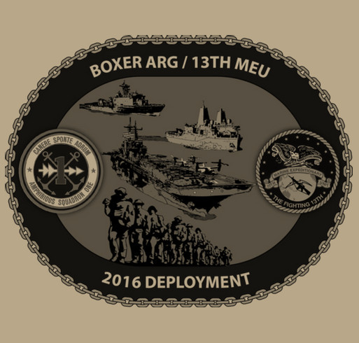 13th Marine Expeditionary Unit/USS Boxer ARG Deployment T-Shirt 2016 shirt design - zoomed