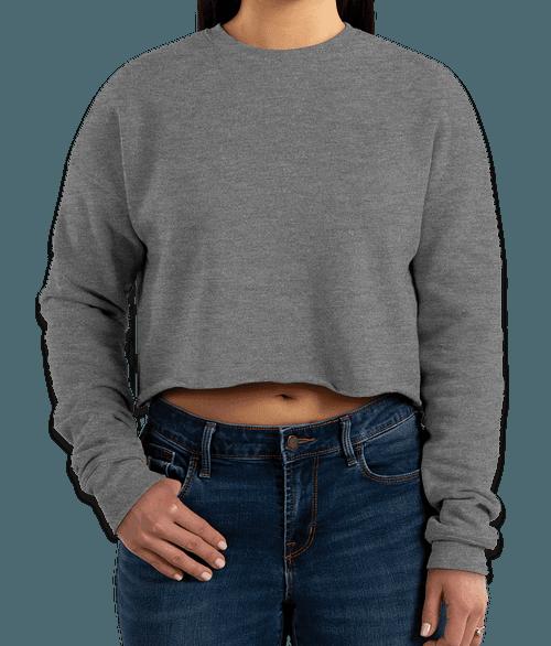 Bella + Canvas Women's Drop Shoulder Cropped Crewneck Sweatshirt - Deep Heather