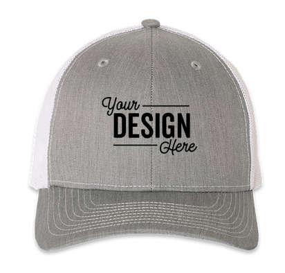 Richardson Snapback Trucker Hat - Heather Grey / White