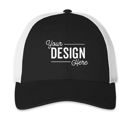 Richardson Stretch Fit Trucker Hat - Black / White